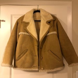 Eddie Bauer New Zealand Suede Shearling Jacket S
